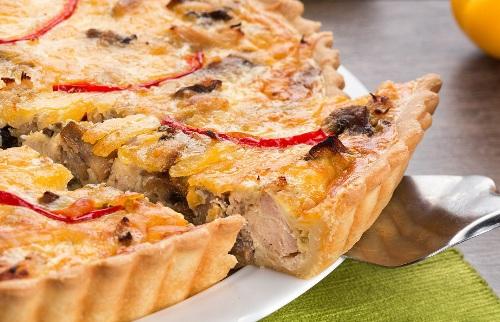лоранский пирог с курицей и баклажанами