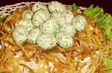 Салат Гнездо: 8 лучших рецептов