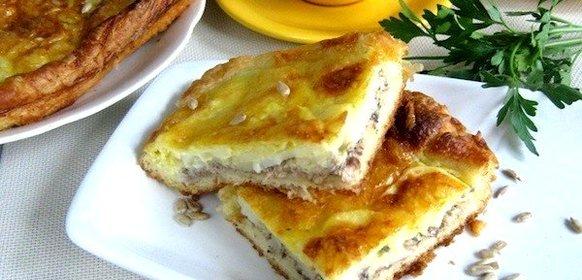 Пирог с сайрой на кефире