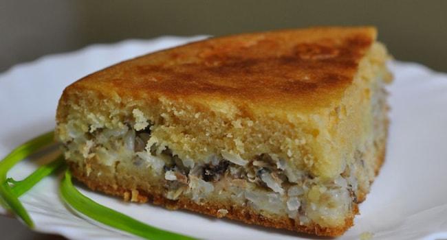 пирог с сайрой и рисом