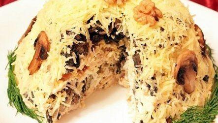 Слоеный салат с грибами: 9 праздничных рецептов