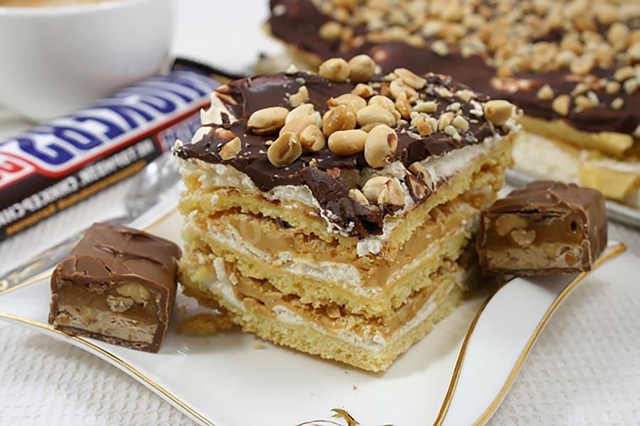 Пирожное со сгущенкой и арахисом - рецепт с фото | 600x900