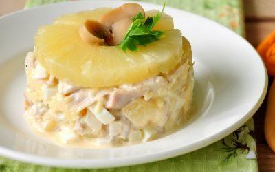 Салат с ананасом и сыром слоями— 6 праздничных фото-рецептов