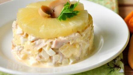 Салат с ананасом и сыром слоями — 6 праздничных фото-рецептов