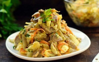 Салат из куриных желудков— 9 простых и сытных рецептов