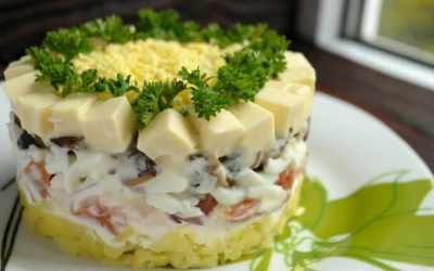 Салат Невеста с копченой курицей — 7 праздничных ярких рецептов