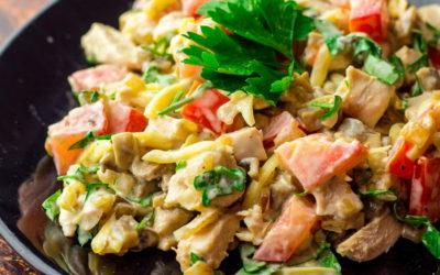 Салат с ветчиной и грибами— 7 самых лучших рецептов