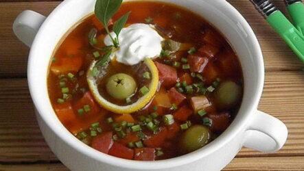 Суп с колбасой и оливками — 6 лучших богатых рецептов