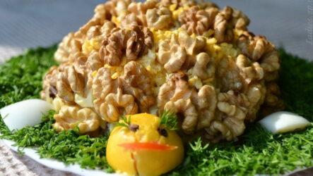 Салат Черепаха с курицей и грецкими орехами — 6 эффектных рецептов