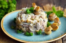 Салат с солеными грибами — 7 фото-рецептов