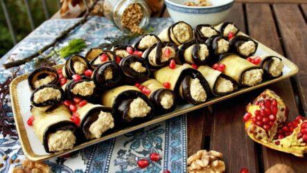 Рулетики из баклажанов с грецкими орехами — 7 рецептов по-грузински